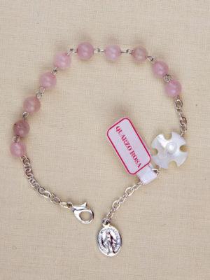 bracciale quarzo rosa catena