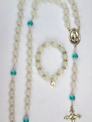 rosario e bracciale coordinato vetro