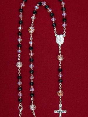 rosario semicristallo grani schiacciati rosa scarabeo