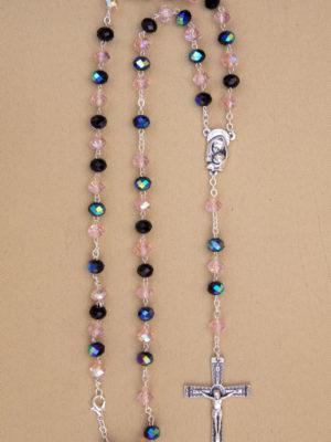 rosario semicristallo rosa nero