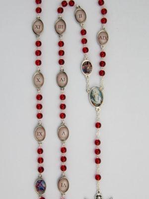 rosario via crucis in vetro con 15 stazioni
