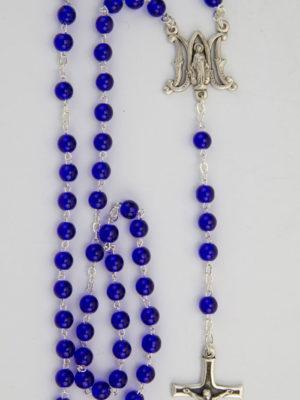 rosario vetro blu doppio anello crociera